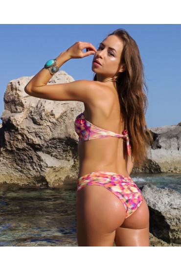Bikini  - BIKINI FASCIA IMBOTTITA SHELL ROSA TROPICALE