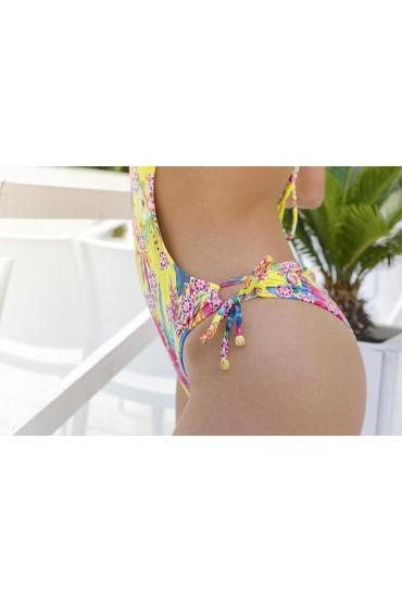 Trikini Ibisco Alikebikini dettaglio laterale coprinodo dorato