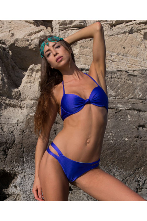 Bikini  - BIKINI PUSH UP NINFEA BLU GLITTER - Interno Azzurro