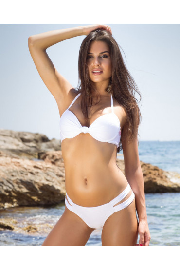 Bikini  - BIKINI PUSH UP NINFEA BIANCO GLITTER - Interno Oro